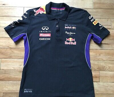 Pepe Jeans Red Bull Racing F1 Black Purple Polo Shirt Ladies Size L UK12