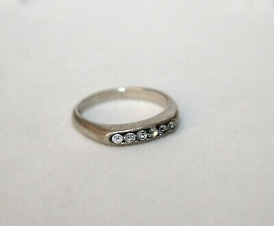 Simple Sterling Silver Ring with Paste Stones Sz K - Modernist/Signed/925