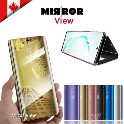 Luxury Mirror View Clear Stylish Flip PU Case Samsung Galaxy Note 10 Plus 10+