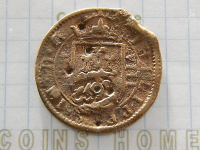 Coins Home SPAIN 1652 Philip IV countermarked 8 maravedi Lot#4532074 Uncertified