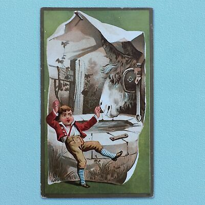 1880s CHROMOLITHOGRAPH GOLD-GILT TRADE CARD, BOY AND DONKEY,  SURPRISE!!