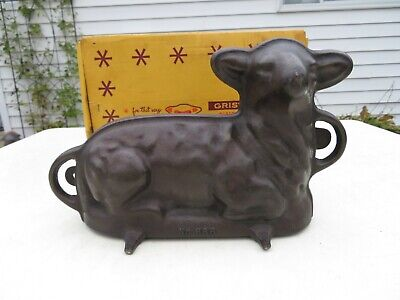 Vintage Griswold No.866 Cast Iron Lamb Cake Mold Nice Condition in Original Box
