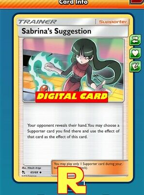 DIGITAL ptcgo in Game Card 2x Sabrina/'s Suggestion for Pokemon TCG Online