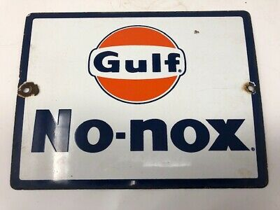 Vintage Gulf No- Nox Porcelain Gas Pump Sign, Used