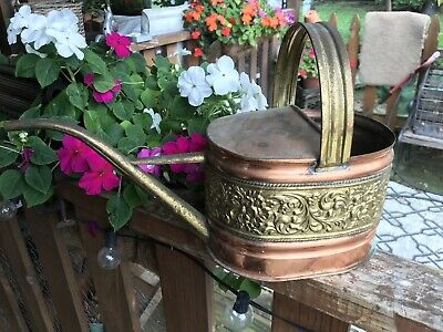 Vintage Watering Can Floral Copper Brass With Spout