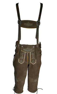 Lederhosen Leather Mens German Shorts Trachten Oktoberfest Beerfest Uk 36""