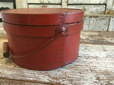 Rare Early Aafa Antique Primitive Pantry Box Wood Original Paint Red Wire Handle