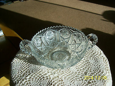Early American Brilliant Vtg  Lead Crystal Elegant Double Handled Nappy Bowl