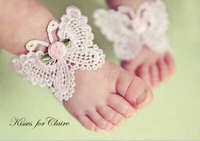 3Pcs Baby Girls Barefoot Sandals with Headband Set Photo Props Photo Shoot
