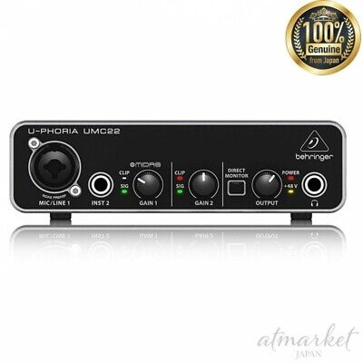 BEHRINGER USB Audio interface UMC22 2 inputs 2 outputs Black genuine from JAPAN