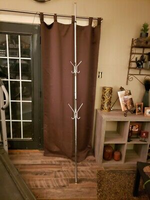 Mid Century Modern Tension Pole Vintage Coat Hat Rack Towel Holder Space Age