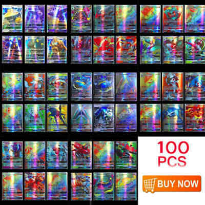 100pcs 95 GX + 5 MEGA Pokemon Cards Holo Flash Trading Card Mixed NO Repeat US