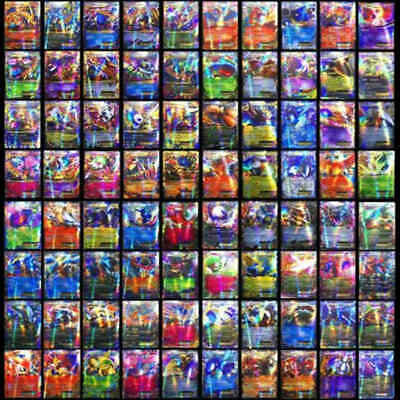 100Pcs Pokemon TCG Flash Cards Lot Rare 20 MEGA + 80 EX Card No Repeat Kids Gift
