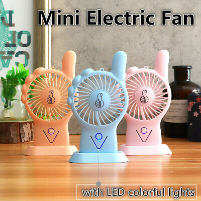 3 Couleur Mini Ventilateur Portable Électrique Air Cooler USB Rechargeable LED ♬