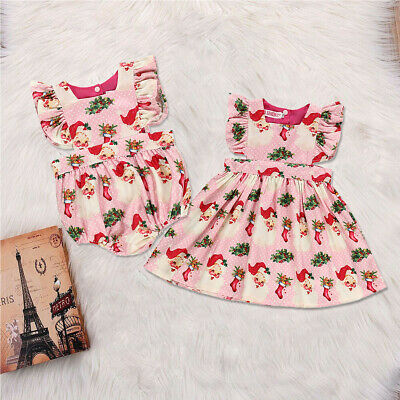 AU Christmas Toddler Baby Girl Clothes Sister Matching Romper Xmas Dress Outfit
