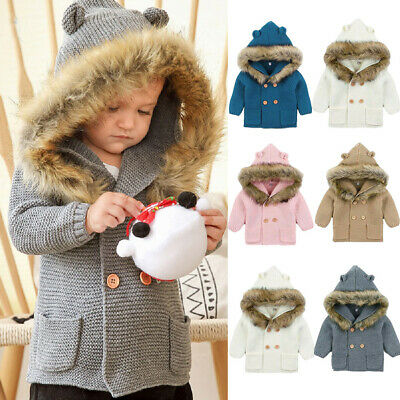 AU Infant Baby Girl Boy Warm Hooded Outwear Coat Sweater Winter Jacket Clothes