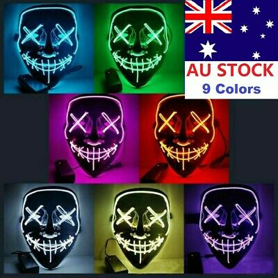 3-Modes LED Mask Halloween Cosplay Costume Light Up Scary Party Purge Wire AU