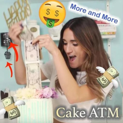 Today-Cake ATM-Last day promotion Happy Birthday Cake Topper Money Box Funny MN