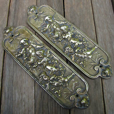 Antique Pair of Ornate Cherub Solid Brass Door Finger Plates