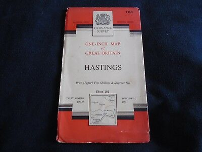 Ordnance Survey Map Of Hastings From 1959 Sheet No. 184