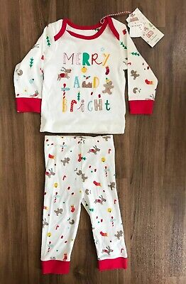 Mothercare Christmas PJ's Pyjamas 2 Piece Outfit Boys Girls 6-9 Months