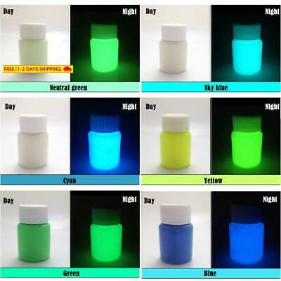 6 Color Pack Glow In The Dark Pigment Powder,Epoxy Resin Color Pigment - 25G Eac
