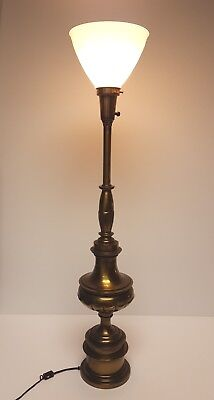 Hollywood Regency STIFFEL Brass Torch TABLE LAMP & White Glass LAMP SHADE Rare