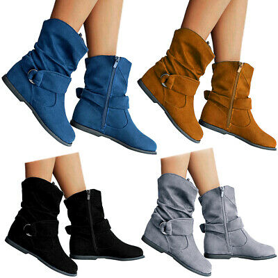 Womens Ladies Flat Suede Wide Ankle Boots Winter Casual Zip Up Shoes Size 4-6.5