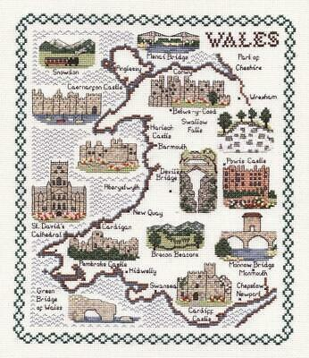 Map & Sights of Wales (Small) - Classic 14ct Counted Cross Stitch Kit