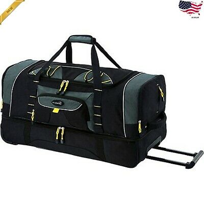 36 2 Section Large Duffel Travel Packing Carry Tote Bag w/Rolling Wheels Black