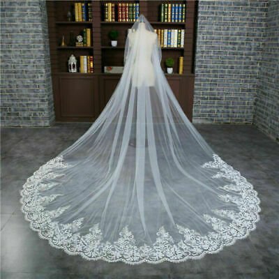 3m Wedding Veil Cathedral Lace veils Single layer Long Bridal Vail With Comb