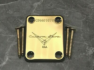 Fender Custom shop USA neck plate   – Gold – with mounting screws!