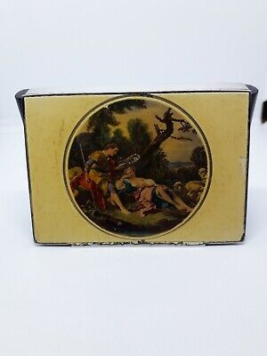 Beautiful Antique Sterling Silver Enamel Painted Snuff Box Or Cigarette Case