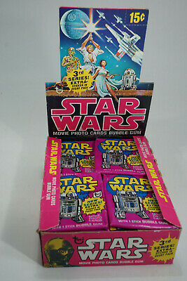 vintage 1977 Star Wars Topps Trading Photo Cards Display + 35x Wax Pack (empty)