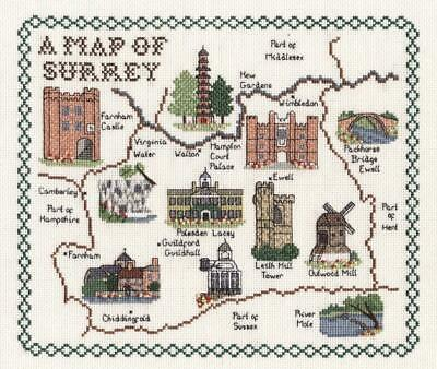 Map and Sights of Surrey - Classic 14ct Counted Cross Stitch Kit