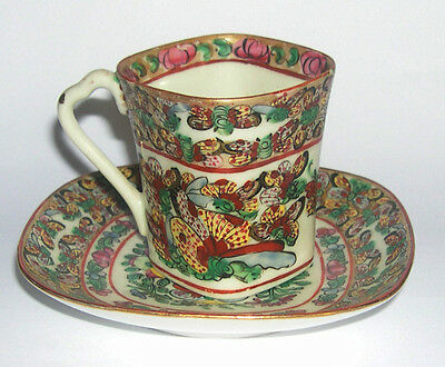 Vintage Chinese Porcelain Cup & Saucer - Hand Decorated By Y & T Hong Kong.