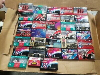 Lot of 35 Blank Audio Cassette Tapes Maxell Sony RCA TDK Scotch NEW SEALED