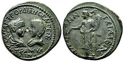 *AET* GORDIAN III and TRANQUILLINA AE26 (Pentassarion). VF+/EF-. Anchialos.Tyche