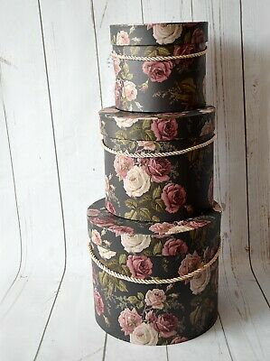Floral Florist Hat Boxes set of 3 with Handles Christmas Flowers Gifts Vase