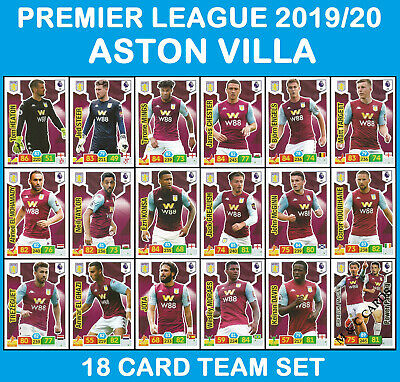 PANINI ADRENALYN Premier League 2019/20 ASTON VILLA 18 Card Full Team Set 19/20