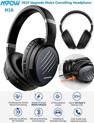Mpow H16 Active Noise Cancelling Bluetooth 5.0 Headphones HiFi Over Ear Headset