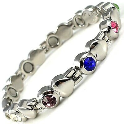 Ladies MAGNETIC BRACELET 9 MAGNETS carpal tunnel arthritis pain heart Womens NEW