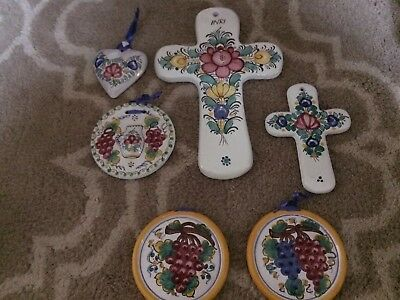 Lot Czech Slovak Slovakian Hand Painted Cross Heart Modra Floral Bohemian Folk