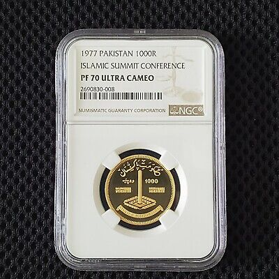 1000 rupees pakistan 1977 Gold NGC PF 70 UC Islamic Summit Conference