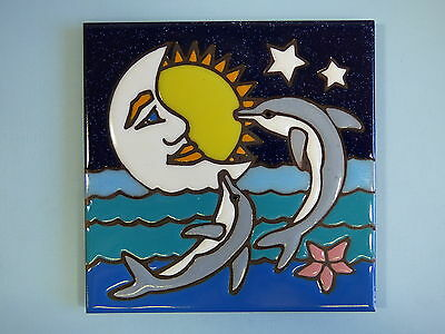 Ceramic Art Tile 6x6 Dolphin ocean sea cresent moon hand painted trivet NEW I65