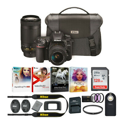 Nikon D7500 DSLR Camera with 18-55mm and 70-300 VR Lenses and 128GB Card Kit