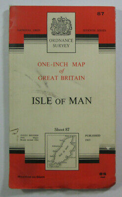 1963 Old OS Ordnance Survey One-inch Seventh Series CLOTH Map 87 Isle of Man