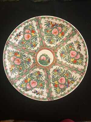 Antique Chinese Porcelain Famille Rose Medallion Large Round Low Bowl Charger