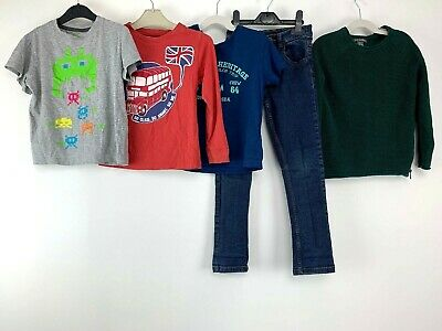 Boys Clothes Bundle 6/7 Yrs T-shirts Jeans Khaki Sweater M&Co Kids Blue Sea Bus