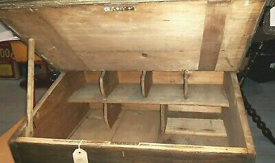 Large Rustic Wooden Writing Slope Box Lift up Desktop with Compartments